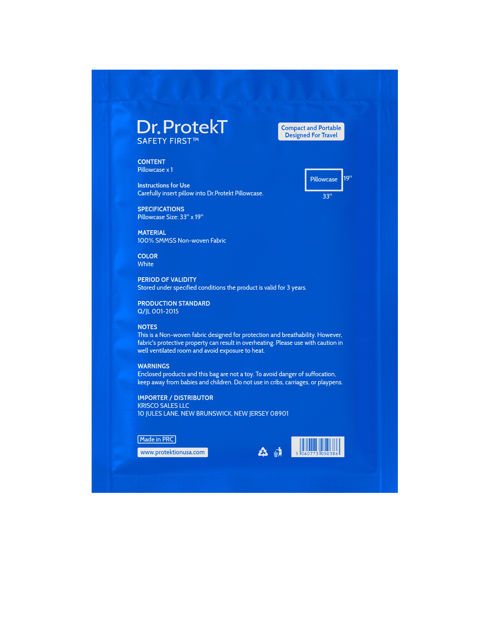 Dr. Protekt Safety First™ Travel Disposable Pillowcase