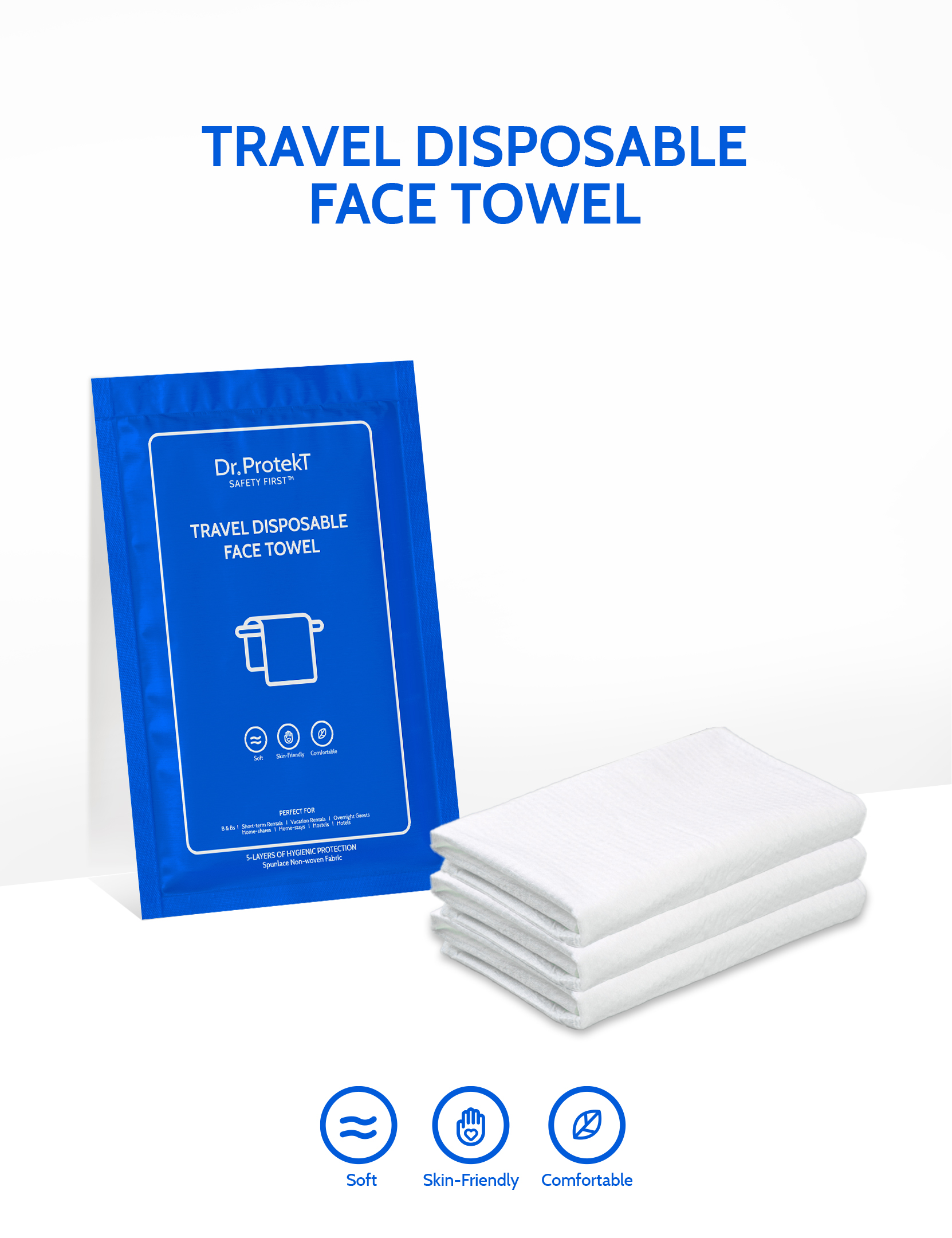 Dr. Protekt Safety First™ Travel Disposable Face Towel