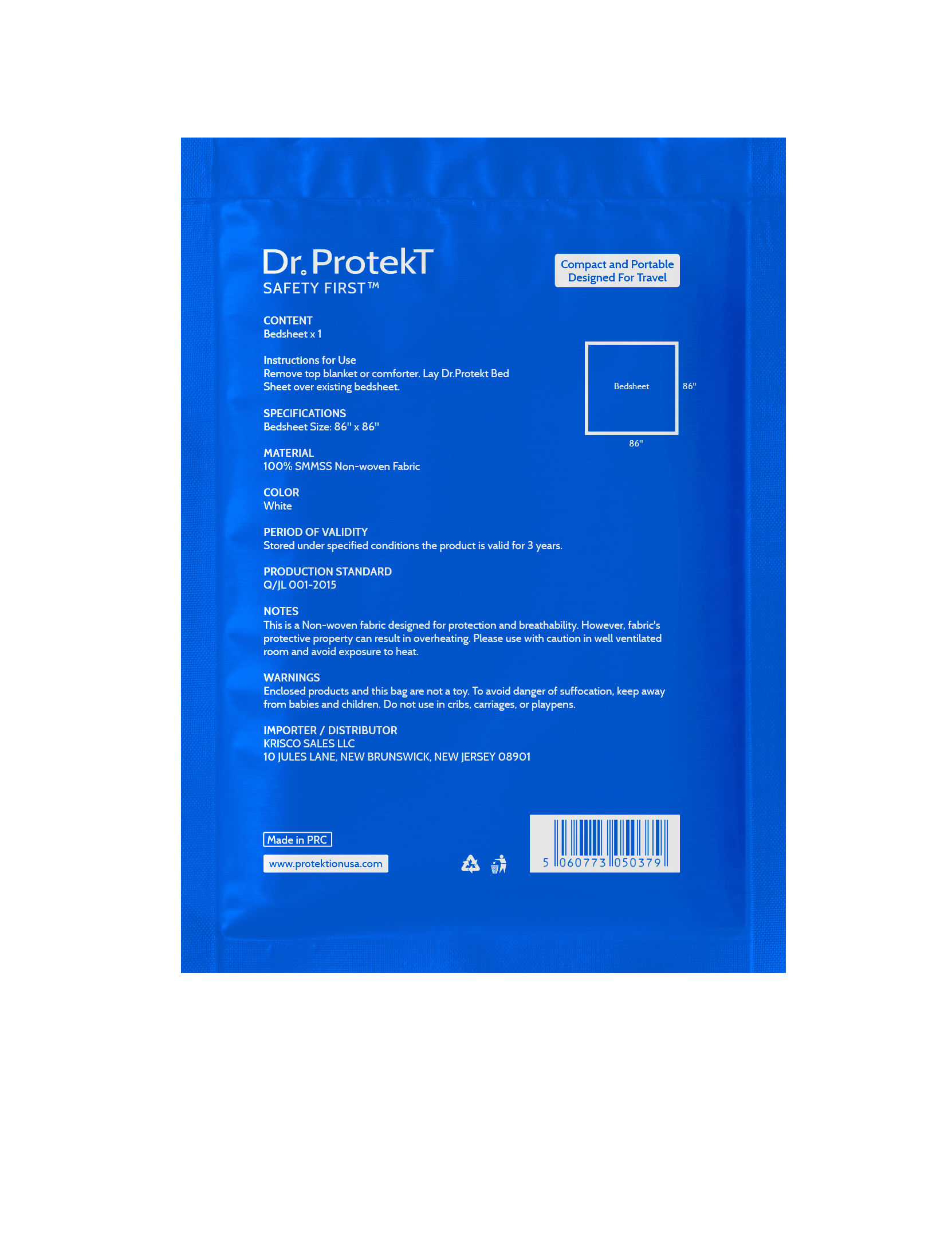 Dr. Protekt Safety First™ Travel Disposable Bedding Sheet (Size: Full/Double)