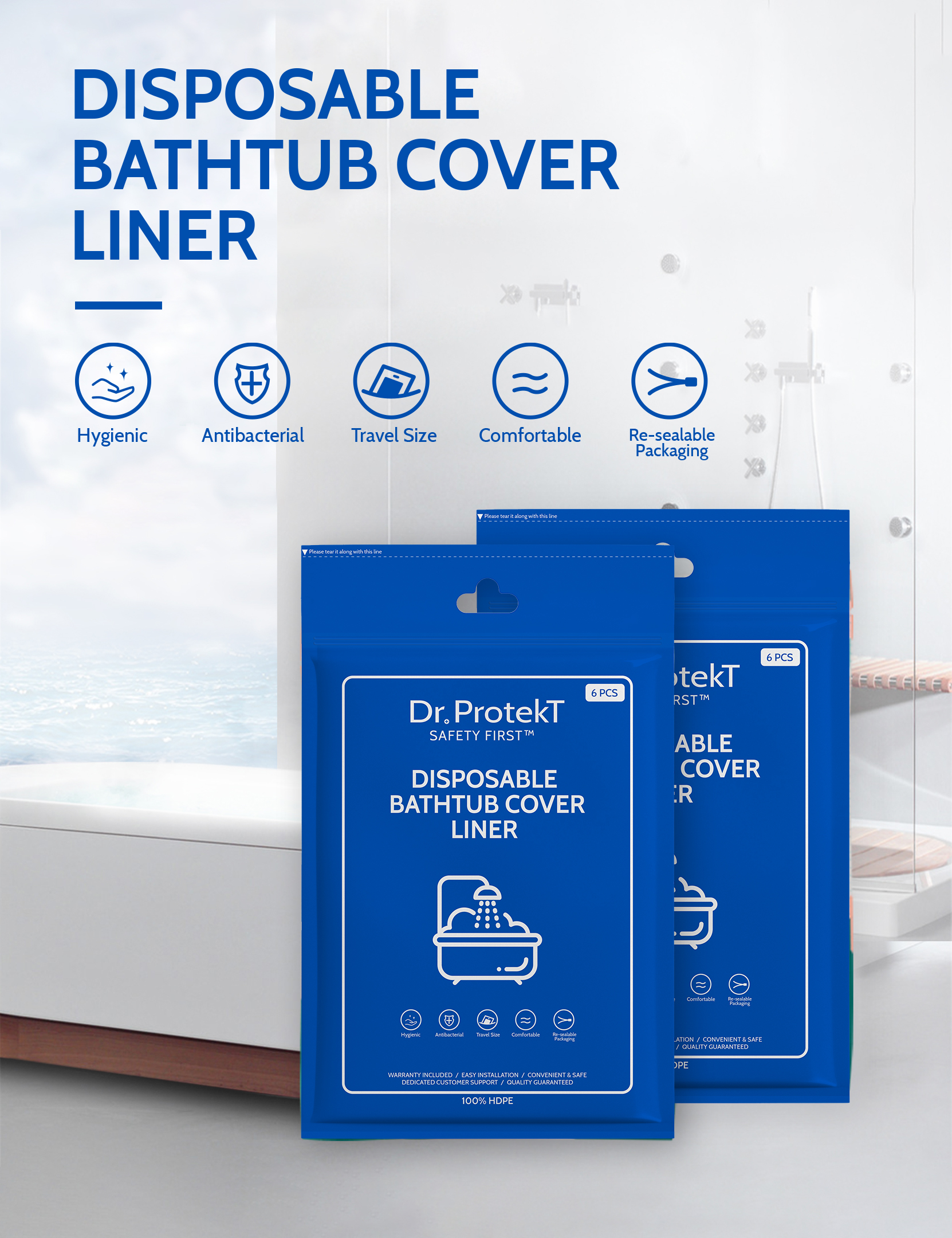 Dr. Protekt Safety First™ Disposable Bathtub Cover